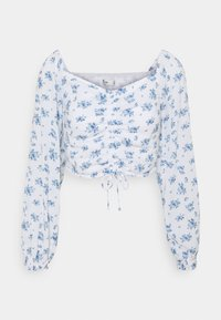 Hollister Co. - CINCH ON OFF SHOULDER - Bluser - white/blue - 4