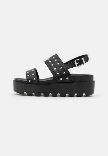 VEGAN SOLITUDE STUDDED STRAP CHUNKY SLIDERS - Platform sandals - black