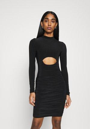 HIGH NECK CUTOUT RUCHED SIDE MINI DRESS - Vestito estivo - black