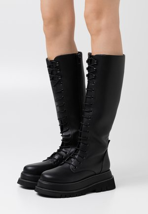 CHUNKY LACE UP BOOTS - Platform-saappaat - black