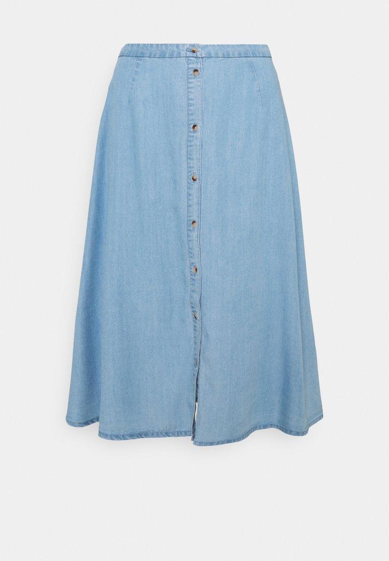 Vero Moda - VMVIVIANA CALF SKIRT - Denim skirt - light blue denim