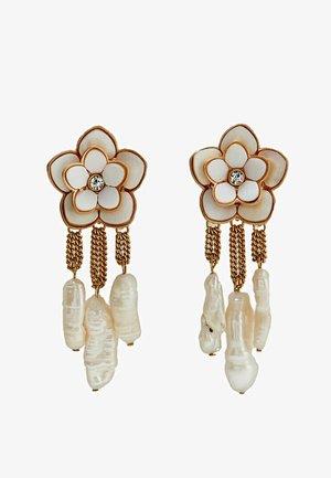 MIT LACKIERTER BLUME - Earrings - white