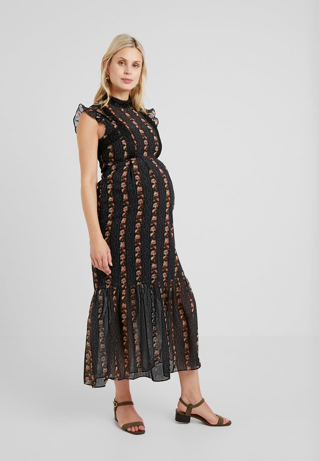 DROP HEM PENCIL WITH TRIM DETAILS - Maxi-jurk - black