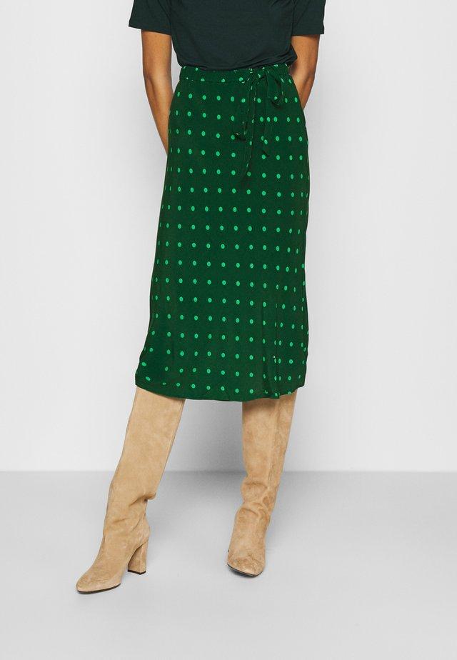 SIDE TIE BIAS MIDI SKIRT - A-line skirt - green