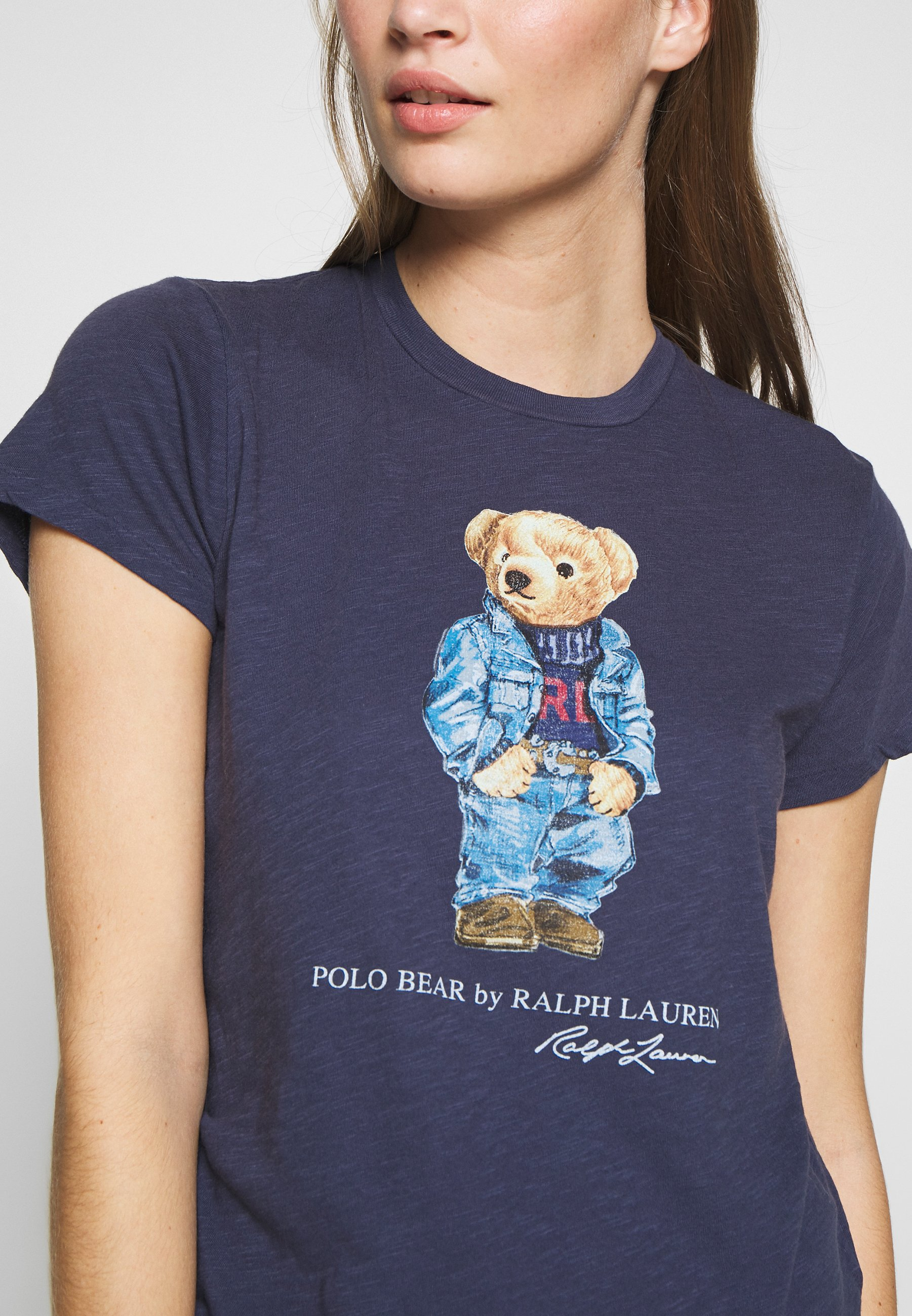 Vintage 100/% Silk Short Sleeve Collared Blouse with Teddy Bear Print