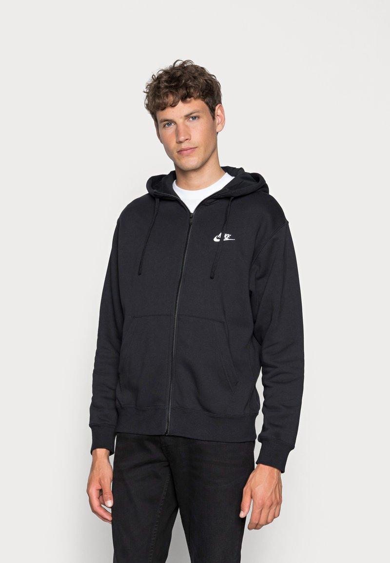 Nike Sportswear - CLUB HOODIE - Tröja med dragkedja - black/black/white