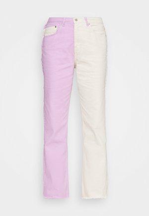 Straight leg jeans - lilac & beige