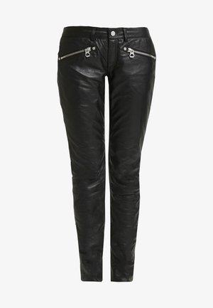 ZIPA TROUSER - Leather trousers - black