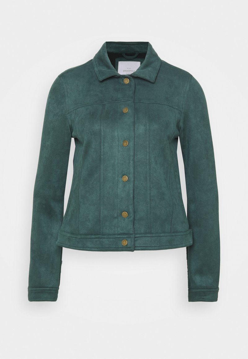 Springfield - Faux leather jacket - green
