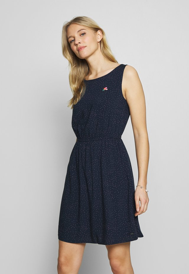 DRESS WITH EMBROIDERY - Freizeitkleid - navy