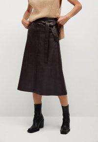 Mango - CHOCOLAT - A-line skirt - marron - 0