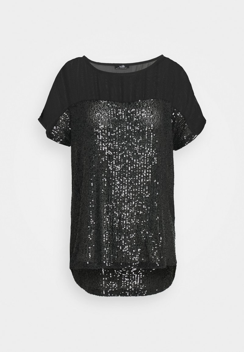 Wallis - SEQUIN TEE - Print T-shirt - black