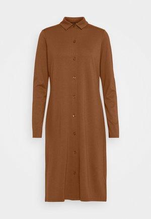 DRESS LONG SLEEVE COLLAR BUTTON PLACKET - Jerseykjole - chestnut brown
