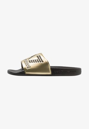 Pantolette flach - shiny gold/black