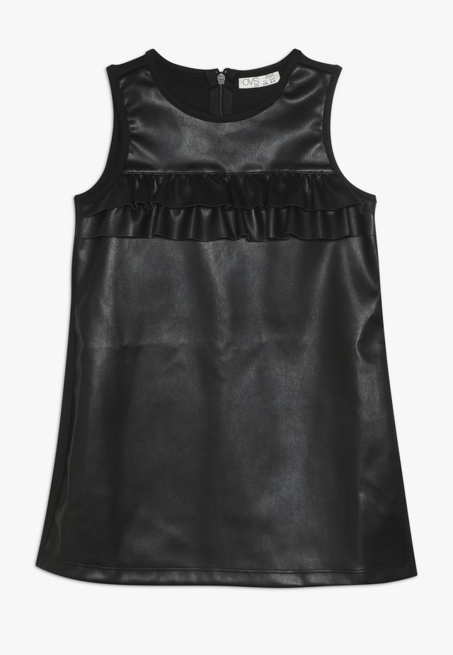 FAKE LEATHER DRESS - Day dress - pirate black