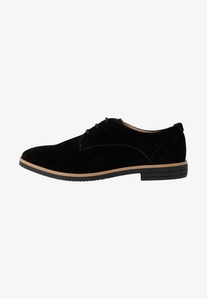LEATHER FLAT SHOES LACE-UPS - Lace-ups - black