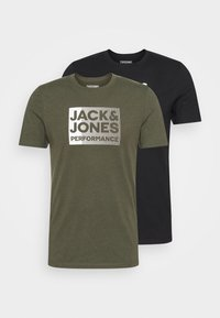 Jack & Jones Performance - JCOZ SPORT LOGO TEE 2 PACK - T-shirt med print - black/forest night - 4