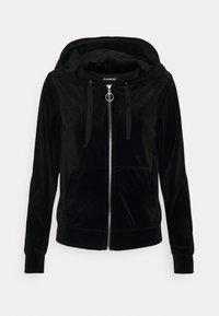 VELVET ZIP THROUGH HOODIE JACKET - Zip-up sweatshirt - black
