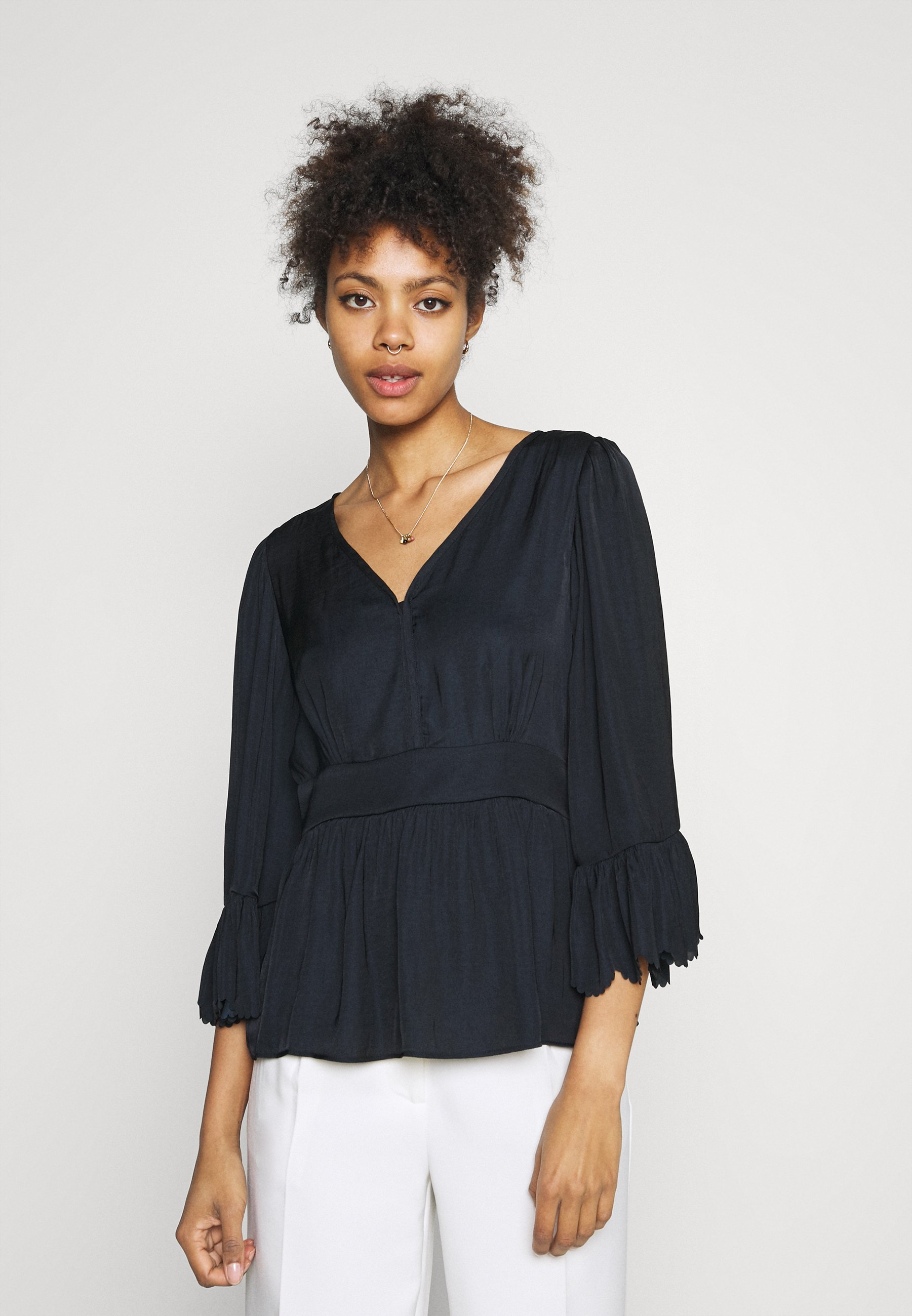 Women DRAPEY WITH SCALLOPED EDGES - Blouse
