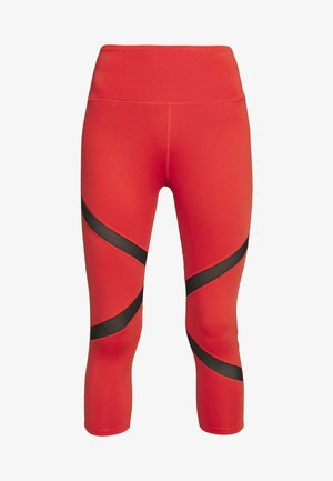 EXCLUSIVE CROPPED PANEL LEGGINGS - Medias - red