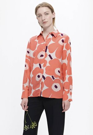 UNIKKO - Button-down blouse - coral/peach/off-white