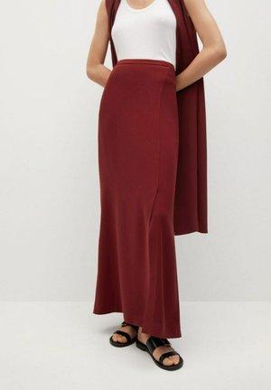 MED SPLITT - Maxi skirt - rødbrun