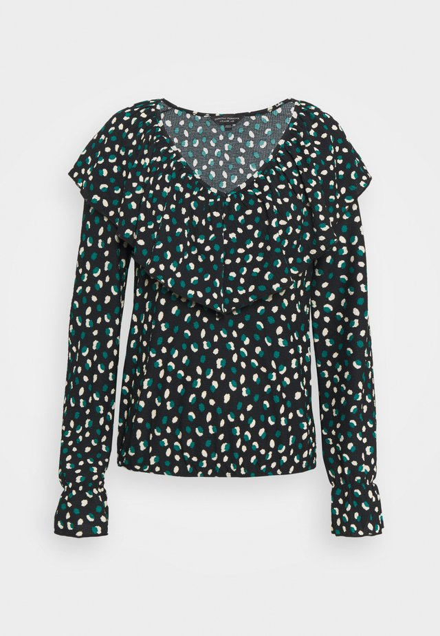 GREEN SPOT EXTREME RUFFLE FRONT FAUCHETTE TOP - Camicetta - black
