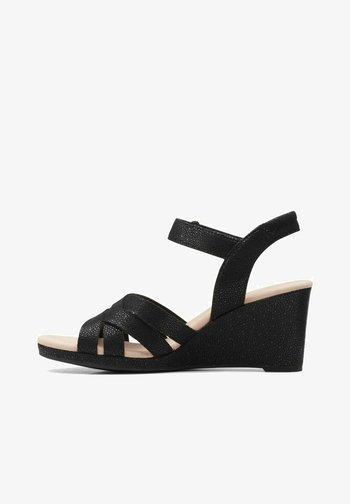 LAFLEY LEAH - Wedge sandals - black synthetic