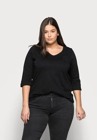 MY TRUE ME TOM TAILOR - WITH VNECK - Topper langermet - deep black - 0