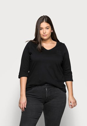 WITH VNECK - T-shirt à manches longues - deep black