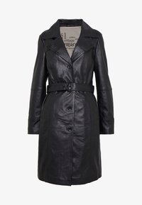 Freaky Nation - LEDER TRENCH COAT - Kožená bunda - shadow