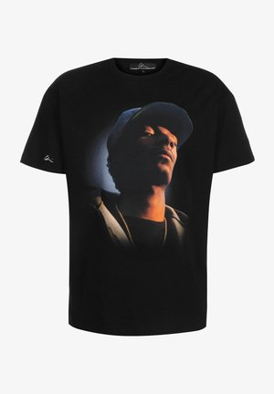 T-shirt print - black/chrome print blue