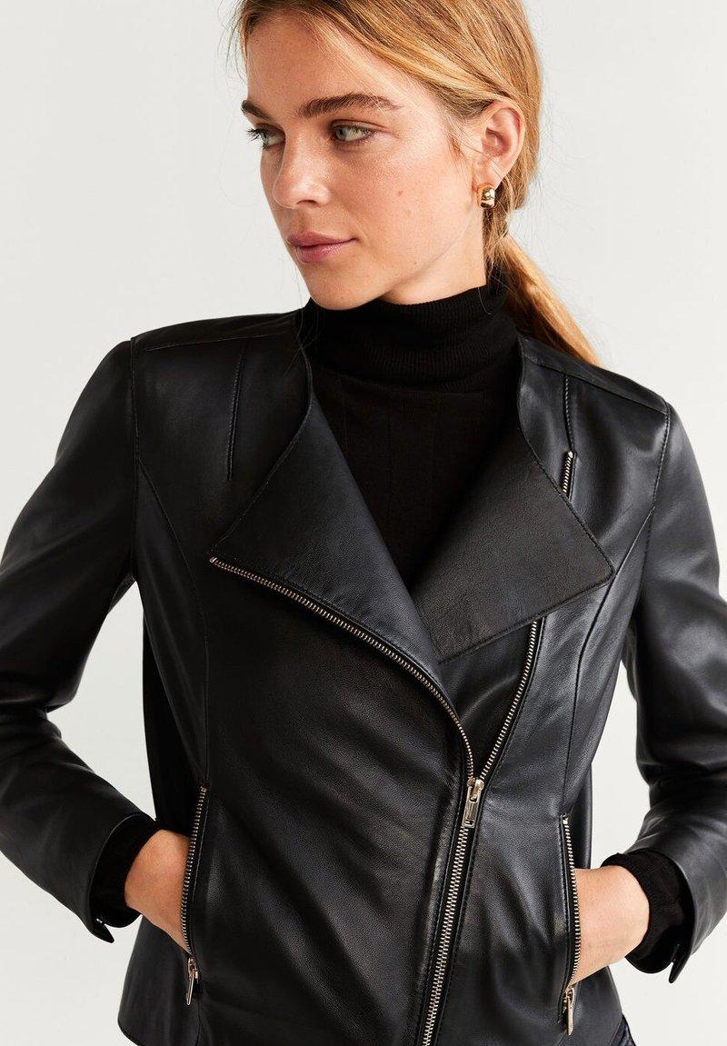 Mango - BIKERJACKE AUS LEDER - Leather jacket - schwarz