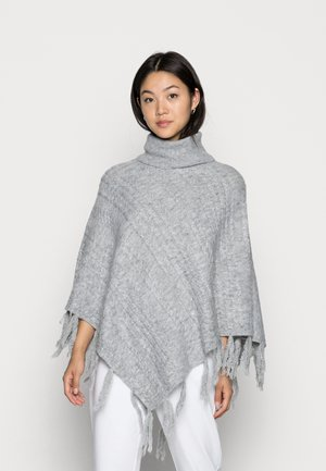 VIPOLLY CABLE PONCHO - Cape - mottlrd light grey
