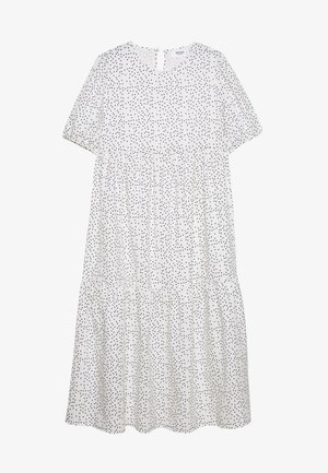 SHORT SLEEVE POLKA DOT SMOCK DRESS - Sukienka letnia - white