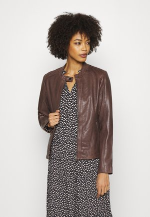 JACKET SHORT - Leather jacket - brown