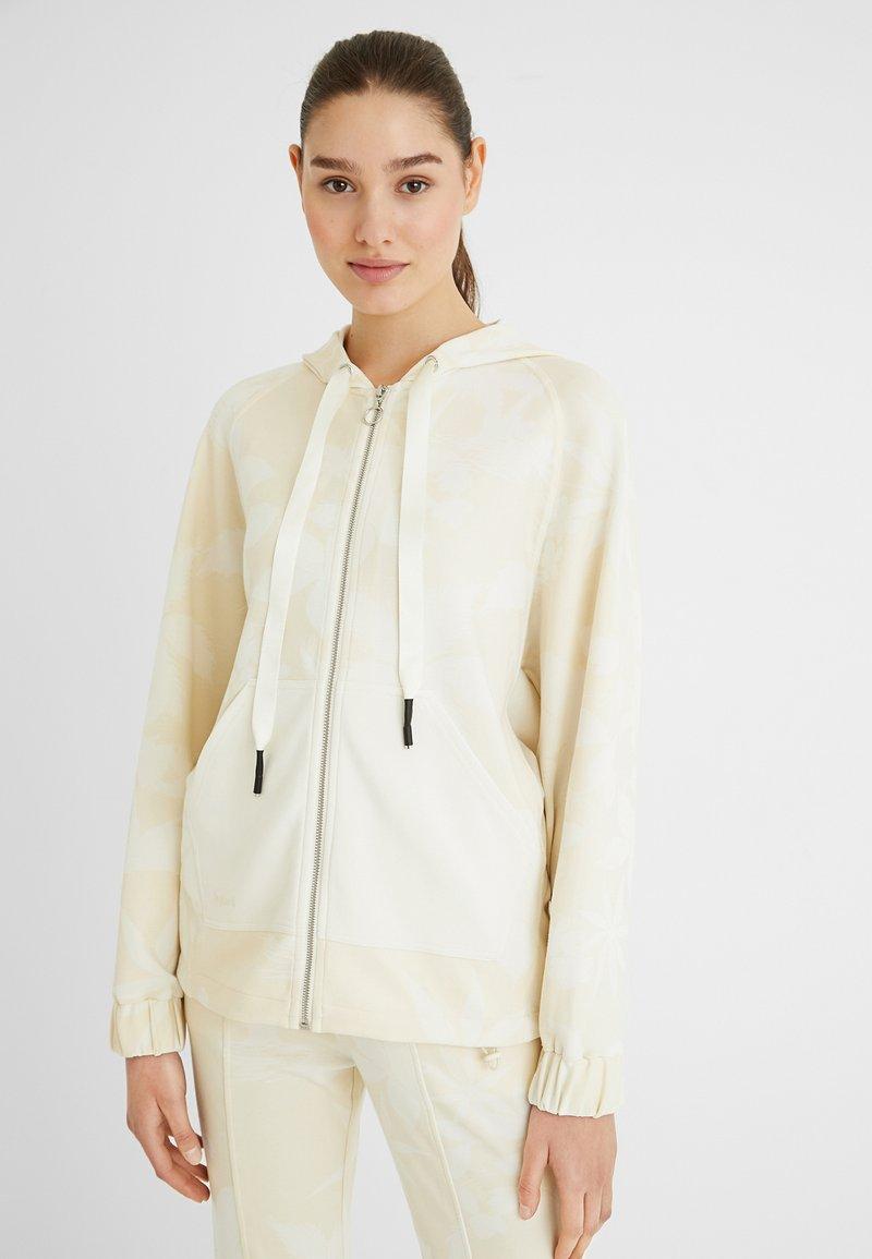 Desigual - PINTUCKS CAMO - Zip-up sweatshirt - white