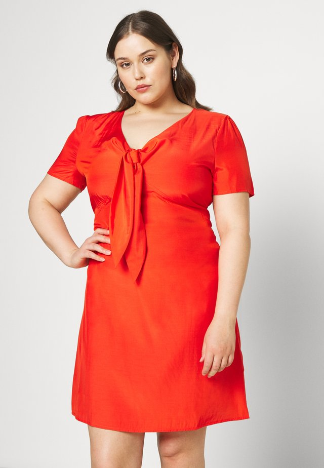 TIE FRONT SHIFT DRESS - Day dress - red orange