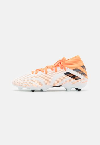 NEMEZIZ .3 FG UNISEX - Moulded stud football boots - footwear white/core black/screaming orange