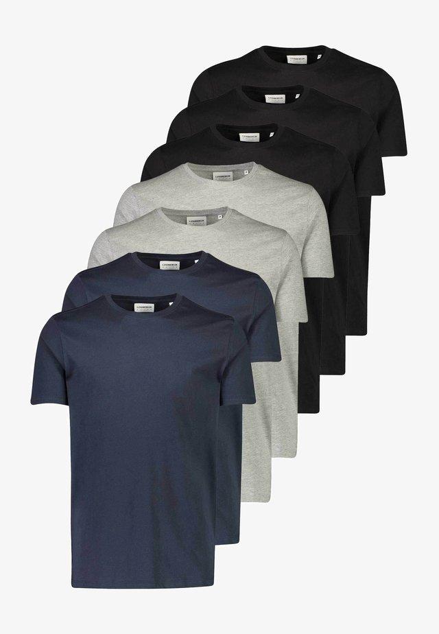 7 PACK - T-shirt basic - black/ grey/ navy