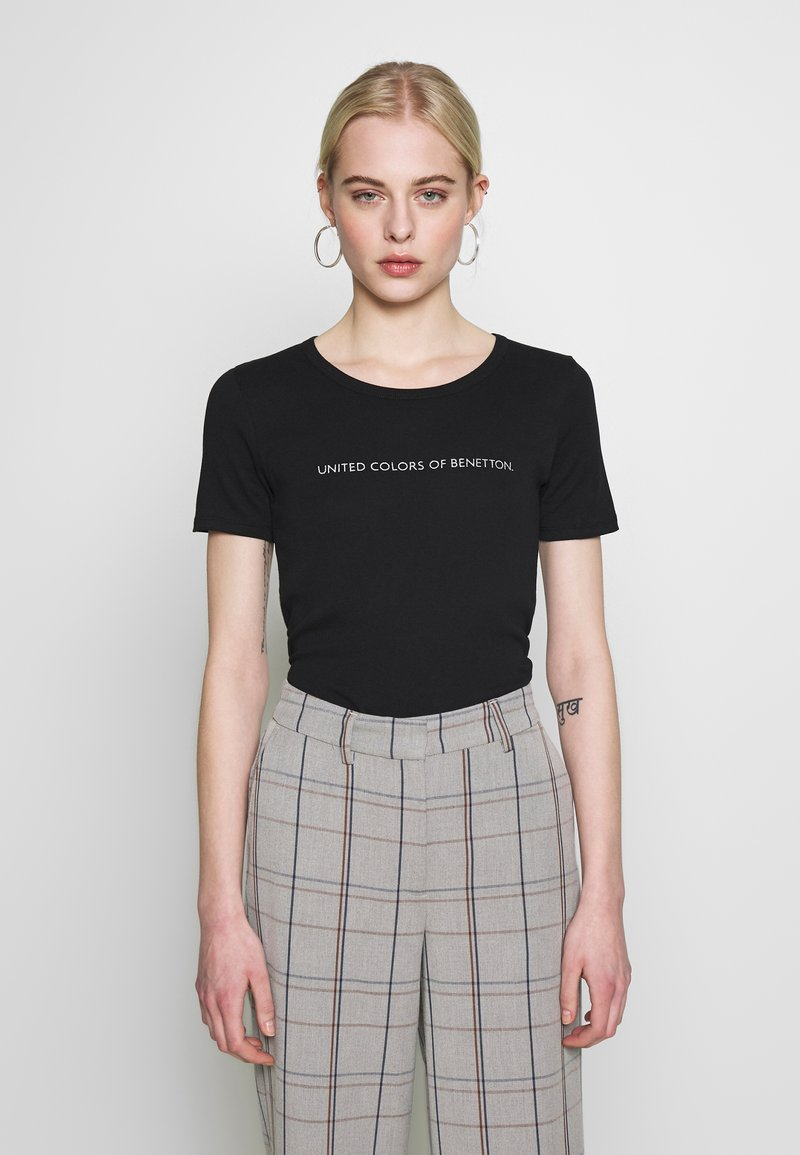 Benetton - T-shirt z nadrukiem - black