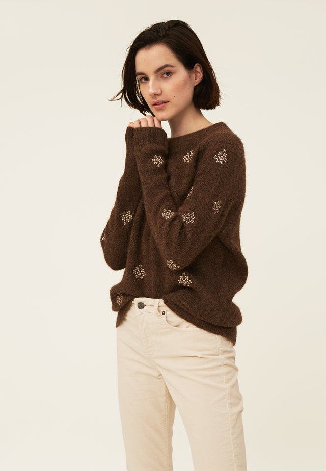 CLARA - Jumper - brown melange