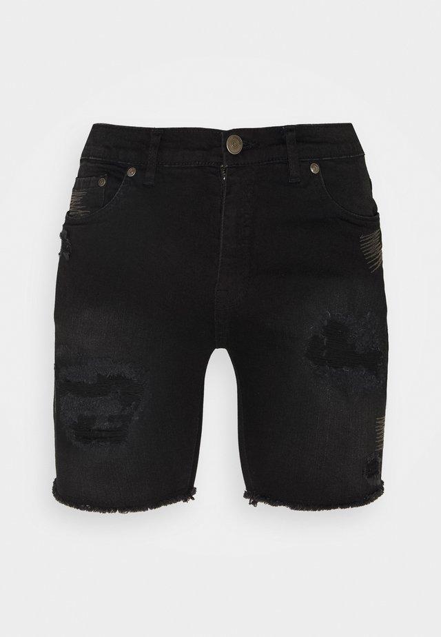 REY  - Szorty jeansowe - black