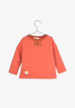 Four Button Detailed Thick T-Shirt (1 to 7 years) - Sweatshirt - brick color