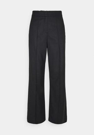 WIDE LEG PANTS HIGH WAISTED PINTUCKS - Trousers - pure black