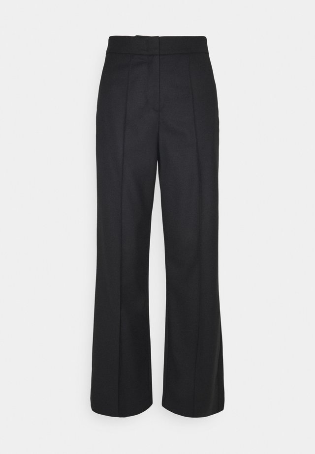 WIDE LEG PANTS HIGH WAISTED PINTUCKS - Pantalones - pure black