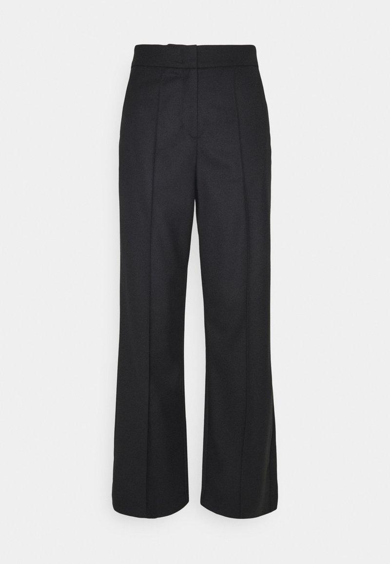 Marc O'Polo PURE - WIDE LEG PANTS HIGH WAISTED PINTUCKS - Bukser - pure black