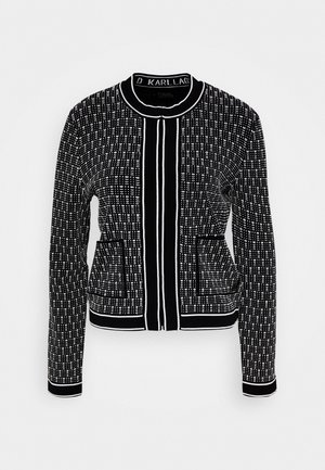 TEXTURED CARDIGAN - Gilet - black/white