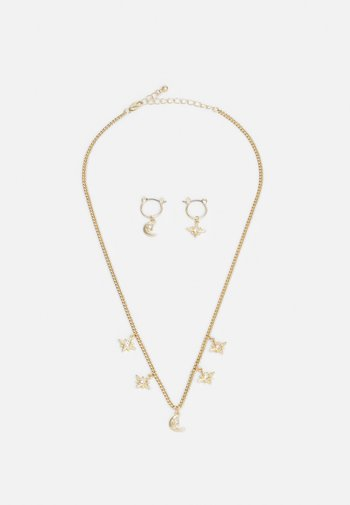PCLADY EARRINGS NECKLACE SET - Øredobber - gold-coloured/clear