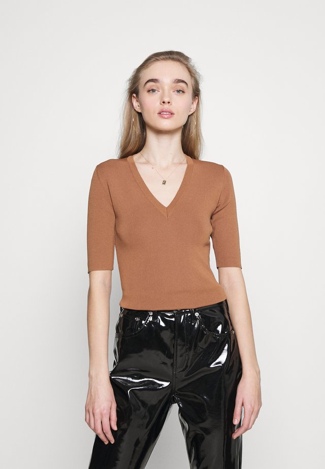 JOLIENE V NECK  - T-shirt basic - brown